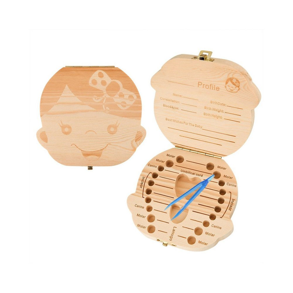 Yonger Baby Tooth Box, Wooden Teeth Save Box Souvenir Box, Milk Teeth Organizer Holder Teeth Wood Case Storage ,1pc (English, Boy)