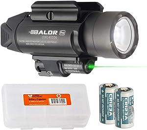 OLIGHT Baldr Pro 1350 Lumen WeaponLight Flashlight with Green Laser Sight with LumenTac Battery Organizer