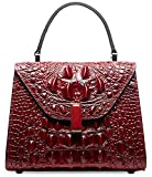 PIFUREN Embossed Crocodile Leather Tote Satchel Top Handle Bag M2205(Small Size, Red)
