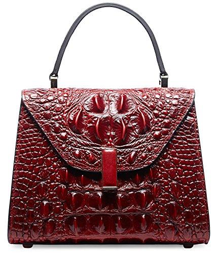 PIFUREN Embossed Crocodile Leather Tote Satchel Top Handle Bag M2205(Small Size, (Crocodile Handbag)
