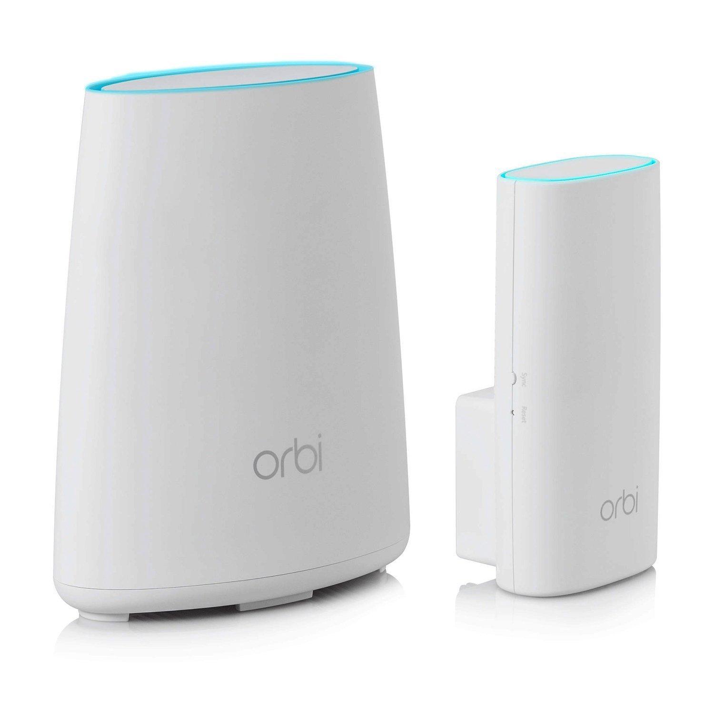 Netgear Orbi RBK30-100PES - Sistema WiFi de Red Mesh, Kit de Router Compacto y Extensor de Red (AC2200 tribanda, Cobertura 200 Metros ampliables, Instalación Sencilla y Segura)