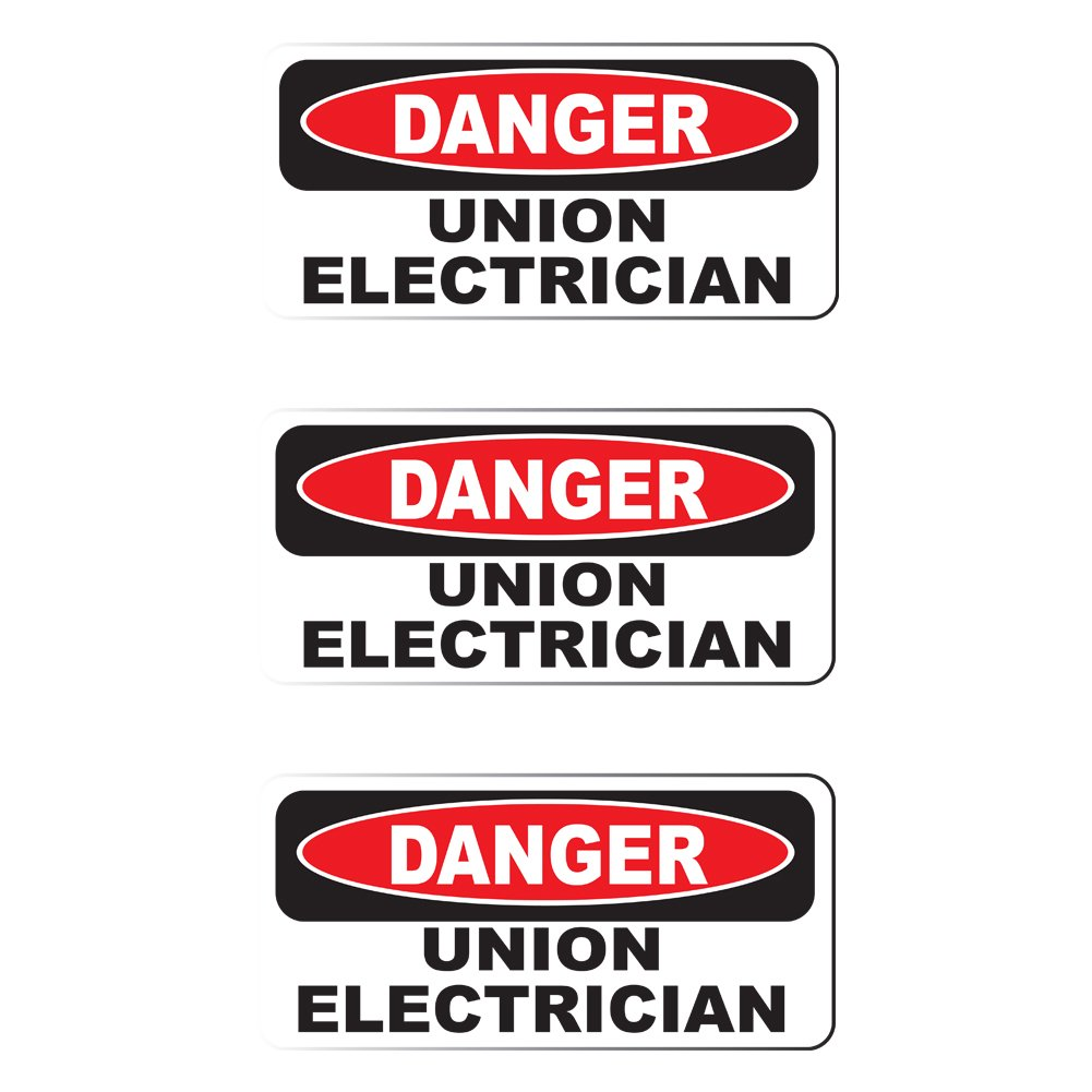 """HardHat Sticker size: 2/"""" x 1/"""" Printed Sticker Danger Union Electrician 3 Pack"""