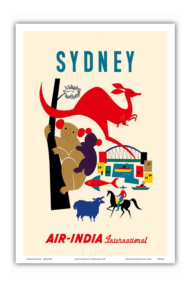 Sydney, Australia - Australian Koala Bears, Kangaroo, Sydney Harbor - Air India International - Vintage Airline Travel Poster by S. V. Waghulkar c.1959 - Master Art Print - 12in x 18in