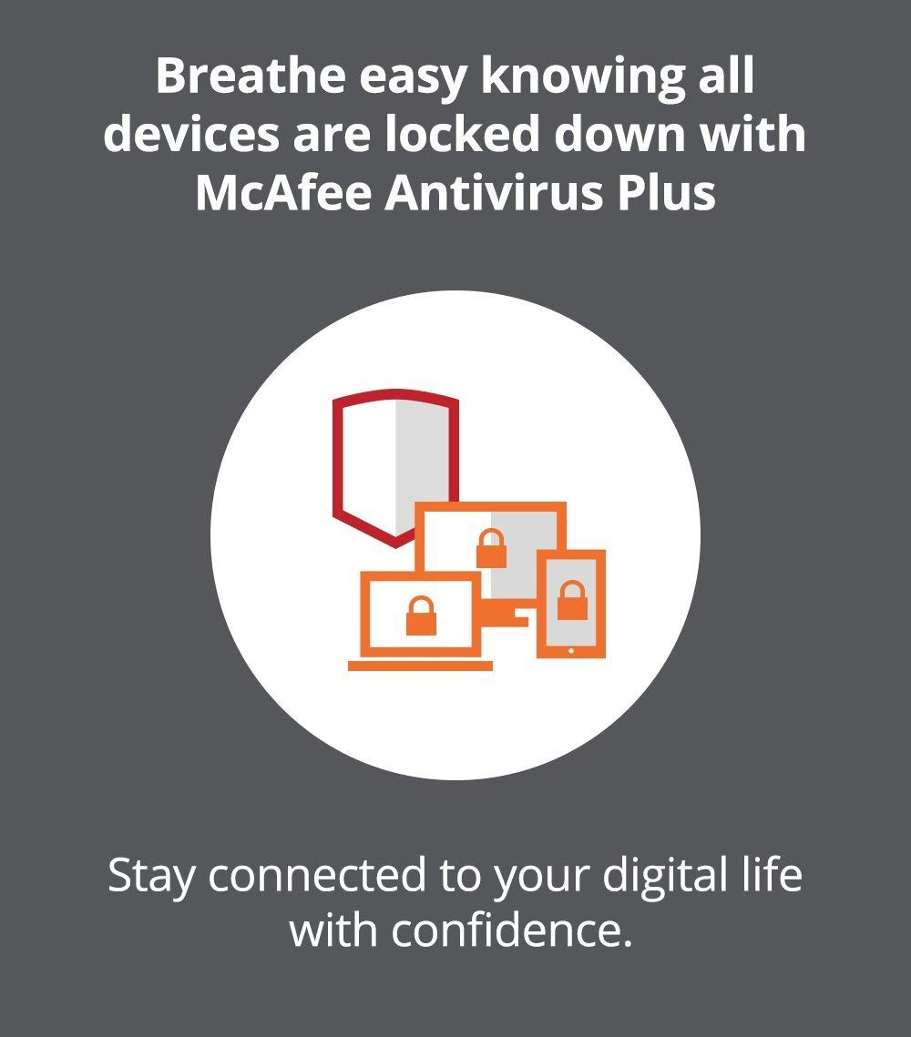 McAfee AntiVirus Plus| Internet Security|10 Device| 1 Year Subscription| [PC/Mac Download]| 2019 Ready by McAfee