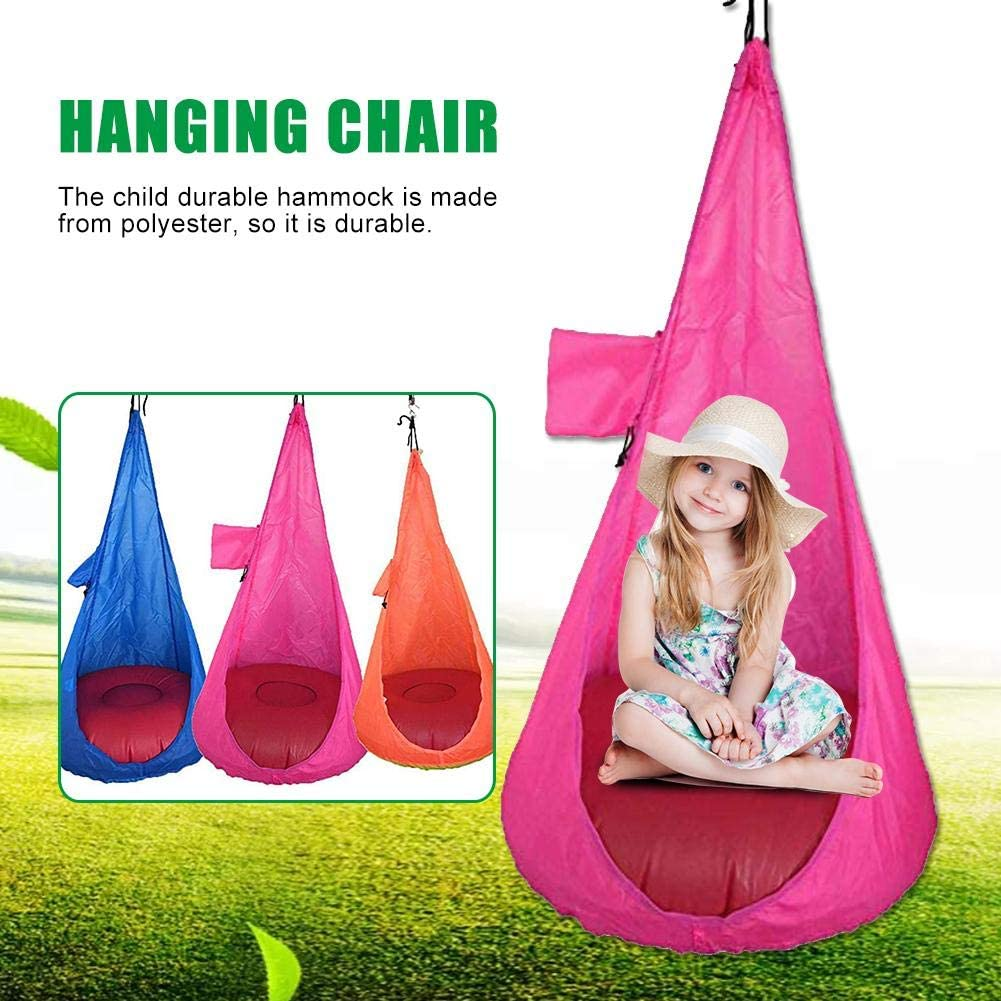 Hanging Chair Kids Child Pod Swing Chair Nook Tent Indoor Outdoor Hanging Seat Hammock in Blue Orange Pink Chairs for bedrooms
