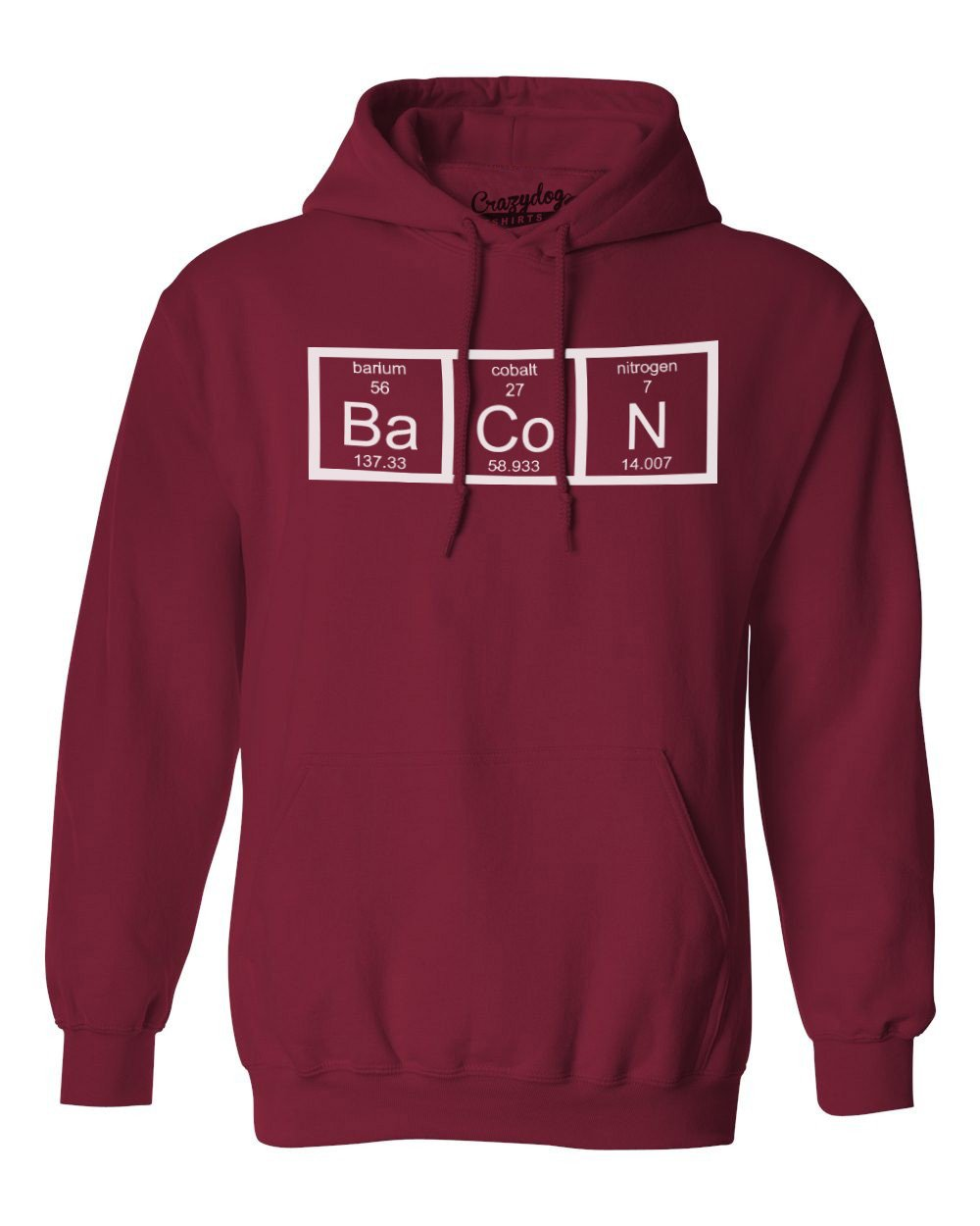 Chemistry of Bacon Hoodie Nerdy Element Science Breakfast Unisex Pull Over Crazy Dog Tshirts