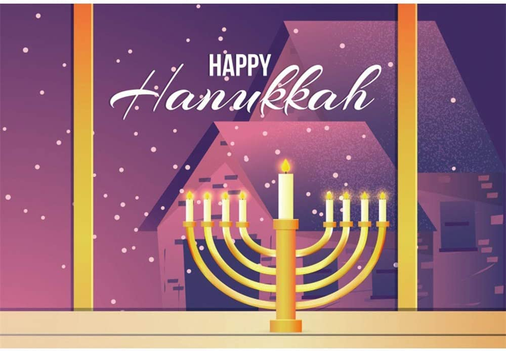 Happy Hanukkah Backdrop 10x6.5ft Jewish Holiday Photography Background Gold Candlesticks Abstract Window Night Scenery Houses White Dots Snow Holy Light Judaism Portrait Shoot Decor Wallpaper