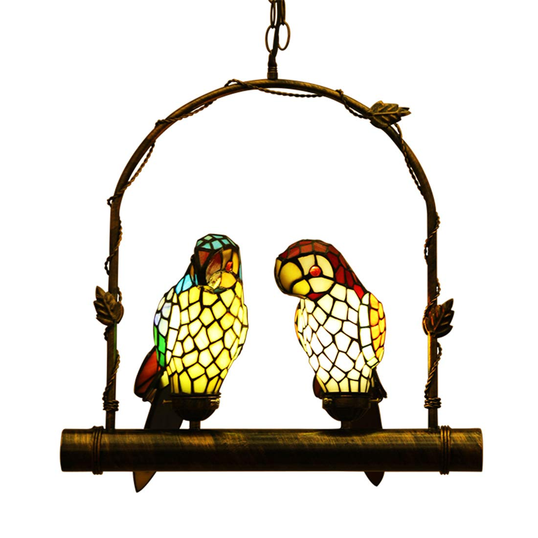 Makenier Vintage Tiffany Style Stained Glass Double Parrots Pendant Lamp