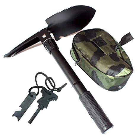 Tfwadmx Military Shovel Foldable Tactical Pickaxe Camping Survival Fire Starter Magnesium Sticks with Compass Outdoor Emergency