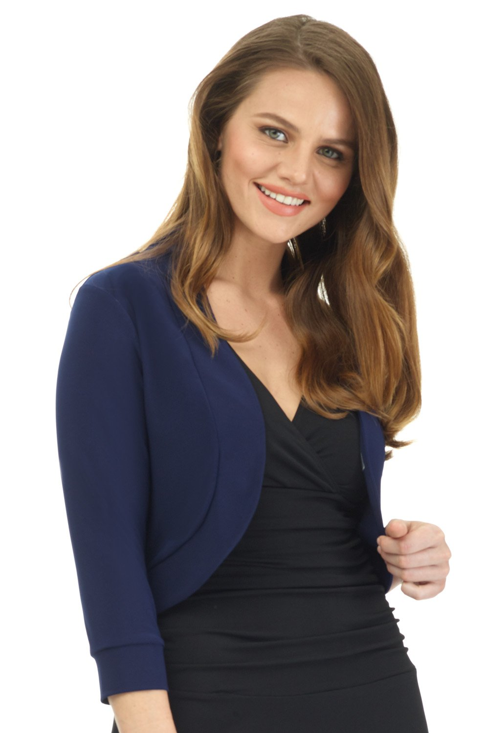 Rekucci Women's Soft Knit Rounded Hem Stretch Bolero Shrug (X-Small,Navy)