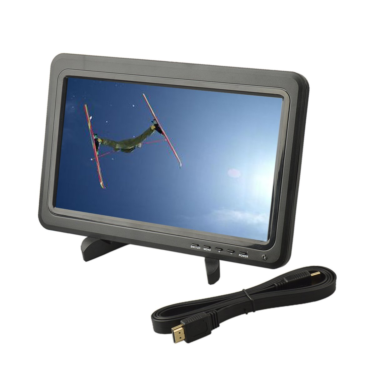 U-Mest®10.1 inches High Resolution 1366*768 IPS LED Panel Screen Display Monitor w/ Collapsible Stand+ HDMI Cable for Raspberry Pi XBOX360 PS4 PS3 Wii U