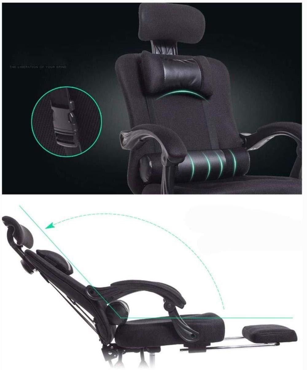 Xiuyun nät hög rygg svängbar kontorsstol datorstol hem svängbar stol bred vinkel liggande mobil dubbel kudde infällbar fotstöd andningsbart rutnät (färg: svart) Grått