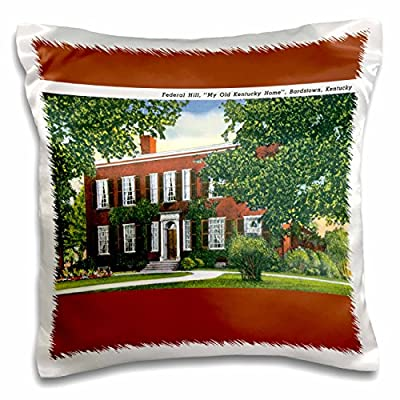 3dRose BLN Vintage US Cities and States Postcard Designs - Federal Hill My Old Kentucky Home, Bardstown, Kentucky - 16x16 inch Pillow Case (pc_170067_1)