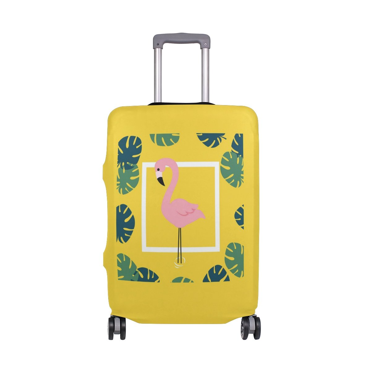 ZZKKO Summer Tropical Leaves Flamingo Travel Luggage Cover Suitcase Protector Bag - Fits 22-24 Inches Luggage