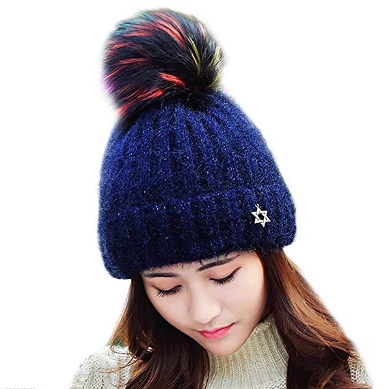 465bf575fd7 HUAMULAN Women Knitted Beanie Hat Winter Thick Ski Caps Dual Layered - Navy  -  Amazon.co.uk  Clothing