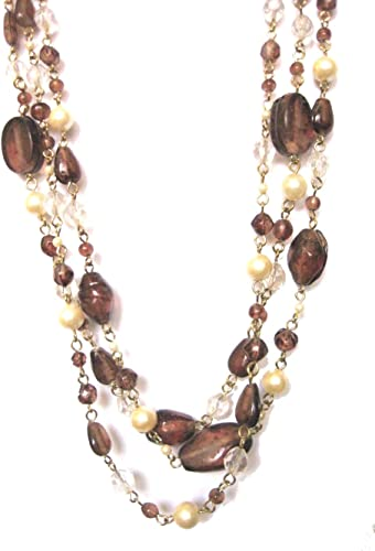 Gold Multi Strand Necklace Earring Set Graduating Pearl Bead Chunky Layered