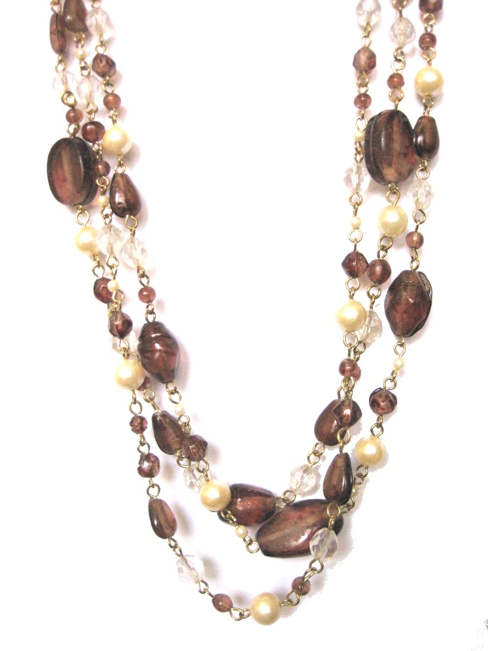 ZAD Multi-Strand Faux-Pearl and Glass Bead Layered Necklace, 18'' - 20'' (Gift-Ready) (Brown)