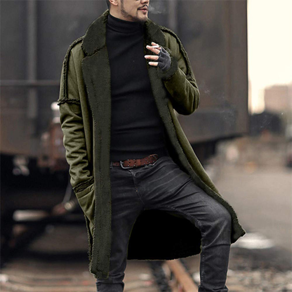 OMINA Mens Longline Reversible Cardigan Sweaters with Pockets Winter Warm Fleece Thicken Military Coat Long Windproof