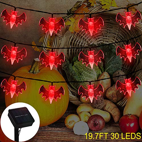 ZALALOVA Thanksgiving Bat String Lights, 19.7ft Solar Powered 30 LED Waterproof Thanksgiving Solar Decoration Lights, 8 Modes for Indoor/Outdoor Christmas Party Garden Yard Fence Decor