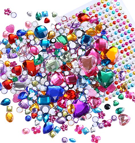 Richness Self adhesive Craft Jewels Kids DIY Gem Stickers Perfect for Scrapbooks, Greeting Cards, Photo Wall, Notebooks, Vases,Birthday Hat etc. Various of Sizes Shapes and Colors (300+300pcs)
