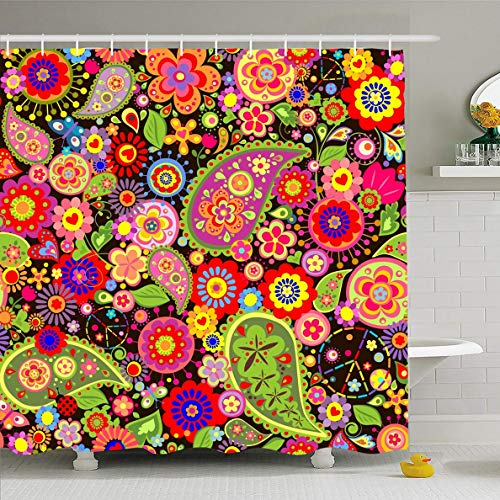 in 60x72 Inches Back Pattern Floral Hippie Symbolic 60S Happiness Vintage Power 70S Paisley Vibrant Design Revival Waterproof Polyester Fabric Bathroom Curtains Set with Hooks ()