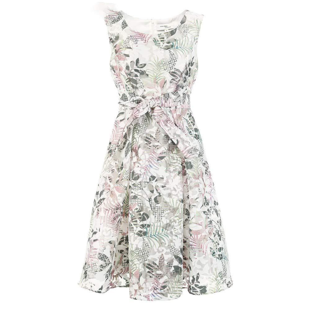 Woman Dress Summer Round Neck Print Long Sleeveless Dress
