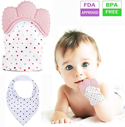 Silicone Baby Teething Glove Teether Mitt Safe BPA Chew Candy Wrapper Dummy Toy