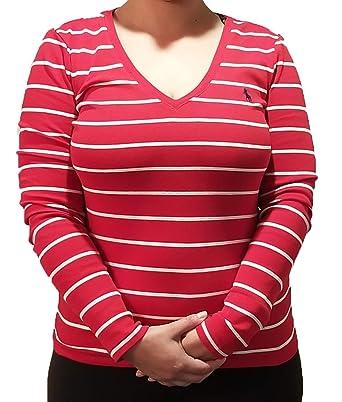d6b39e97b RALPH LAUREN Polo Womens Perfect Long Sleeve V Neck T-Shirt (Small, Red