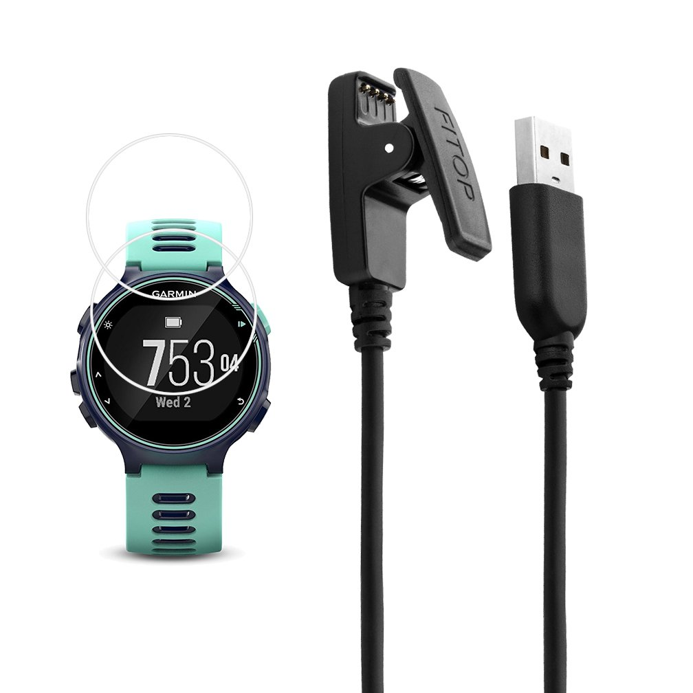 X1 for Garmin Forerunner 735xt Charger Charging Clip Synchronous Data Cable and 2Pcs Free HD Tempered Glass Screen Protector Replacment Charger for Garmin Forerunner 735 Smart Watch by JIUJOJA