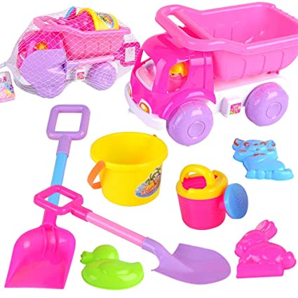 898fd97a37 Toddlers sand toy set Girls 8 Pieces Pink Beach Pail Set Sand Water Toys  Set For