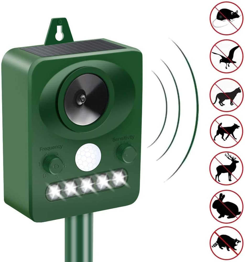 Upgraded Animal Repeller Ultrasonic Signal Strong Flash Light Garden Lawn Park Protector Solar Ultrasonic Electronic Animal Scarer Bird Flooding Cat Dogs Snake Wild Boar Control Device