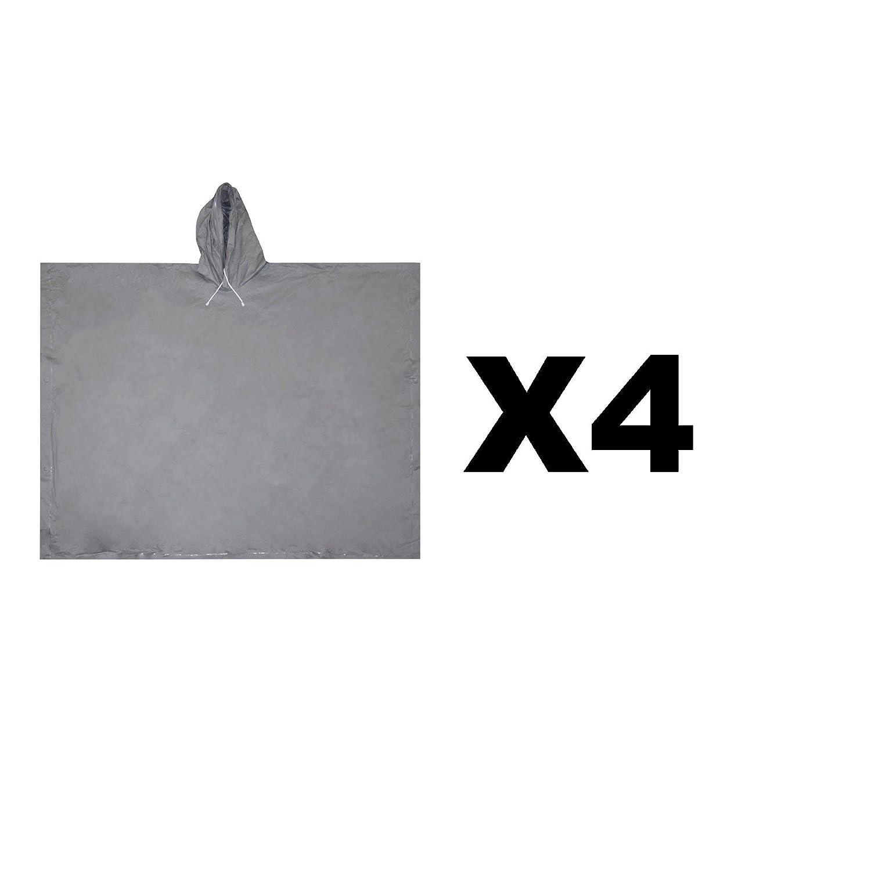 Ultimate Survival Technologies全天候ポンチョ大人用Gray with Hood ( 4 -パック) B01MRBNHMX