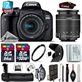 Canon EOS Rebel 800D/T7i Camera + 18-55mm IS STM Lens + Battery Grip + 64GB Class 10 Memory Card + 2yr Extended Warranty + 32GB Class 10 Memory Card + Backup Battery - International Version