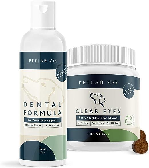 Petlab Co. Dental Wash + Clear Eyes for Dogs Supplement Bundle   Dog Mouthwash & Teeth Cleaner   Dental Water Solution, Targets Plaque & Tartar   Tasty Chews to Support Eye Function