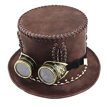 JAYLONG Steampunk Traje Vintage Cobre Sombrero De Copa, Máscara, Gafas De Vestir Gótico Victoriano Accesorios para Disfraces De Halloween Cosplay: ...