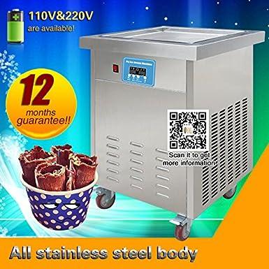 Yoli® Thai frito máquina de helado, Ice Crema rollo Panificadora, frito cuadrados de hielo crema eléctrica con panel de control: Amazon.es: Electrónica