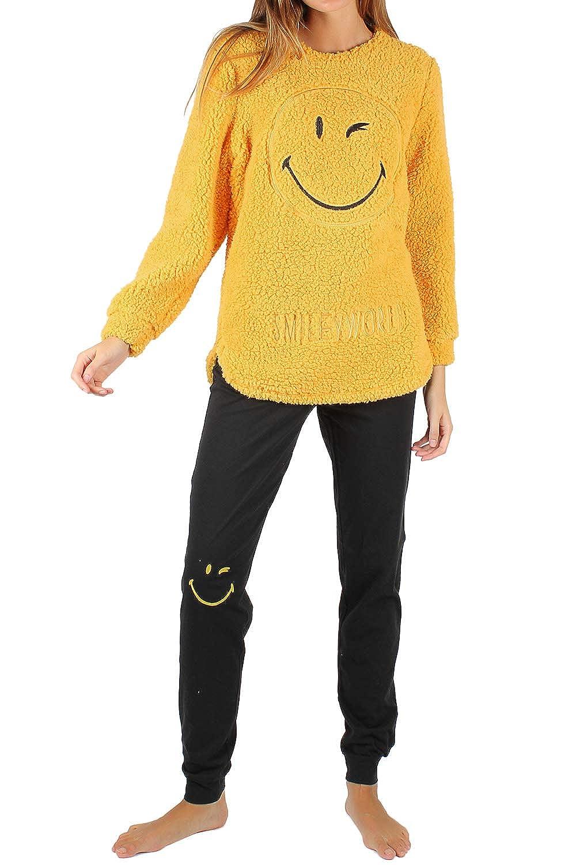 TALLA L. Smiley Pijama Manga Larga Calentito De Borreguito Better para Mujer