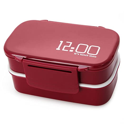 Clock Japón Style Double Tier Bento Lunch Box PP Lindo Meal ...