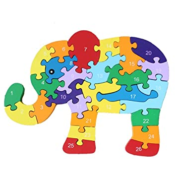 LHEI Wooden Jigsaw Puzzles Winding Elephant Toys Game Children Letter Numbers Preschool Educational For