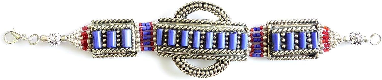 Pulsera TIBETANA para Mujeres Pulsera Azul Lapis-Lazuli & Coral Handmade por Plata TIBETANA