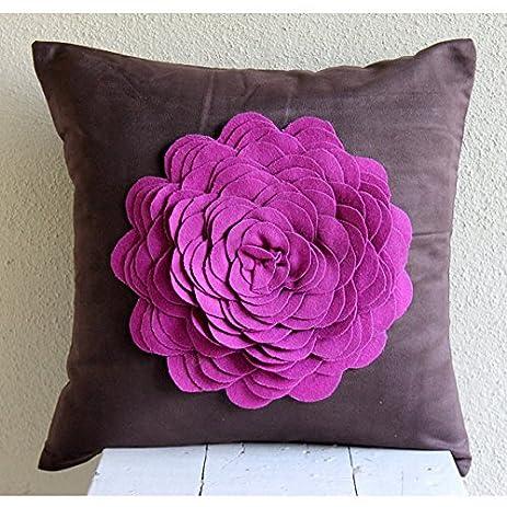 Amazon designer brown pillow shams 3d purple felt origami rose designer brown pillow shams 3d purple felt origami rose flower pillow shams 24quot mightylinksfo
