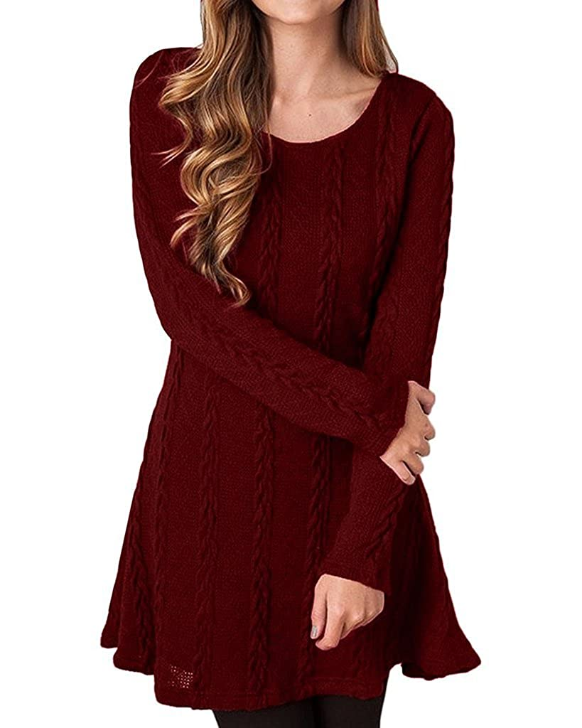 Oderola Womens Knitted Sweate Dress Slim Long Sleeve Jumper Swing Sweater Plain A Line Dress Tops