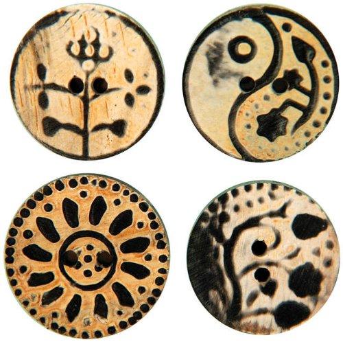 Vision Trims Handmade Horn Buttons 4/Pkg-Circle Flower Carvings