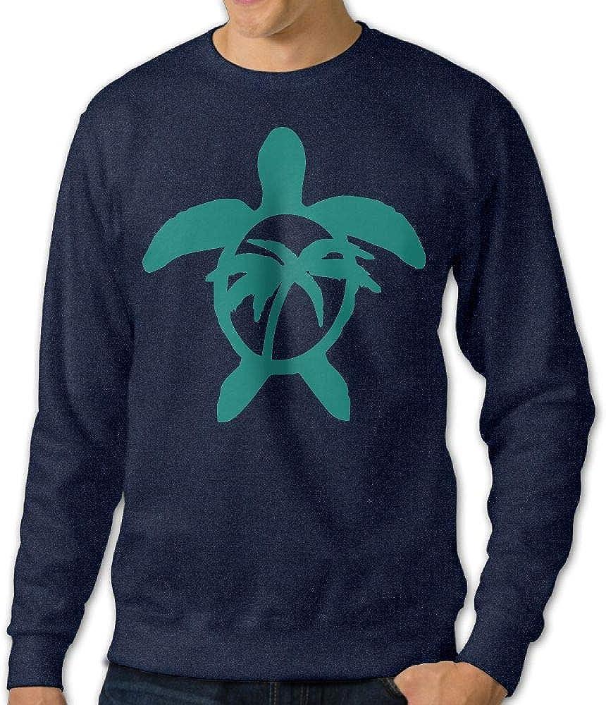 Jiongjiu/&256 Mens Hawaiian Palm Tree and Sea Turtle Pullover Long Sleeve Cotton Fleece Sweatshirt Sweaters