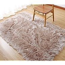 Rectangle Sheepskin Rug Supersoft Fluffy Area Rug Shaggy Silky Throw Rug Floor Mat Carpet Decoration (3 ft x 5 ft, Coffee)