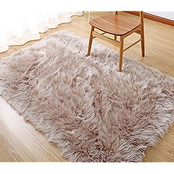 Rectangle Sheepskin Rug Supersoft Fluffy Area Rug Shaggy Silky Throw Rug  Floor Mat Carpet Decoration (