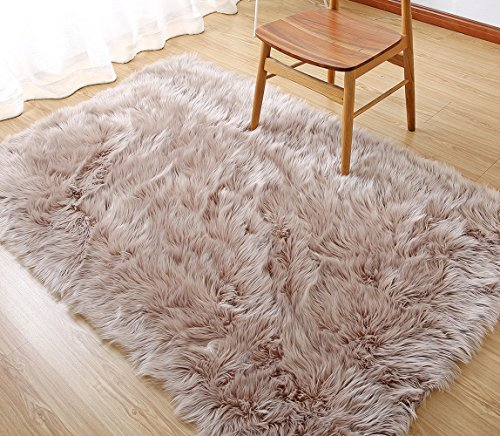 Rectangle Sheepskin Rug Supersoft Fluffy Area Rug Shaggy Silky Throw Rug Floor Mat Carpet Decoration (3 ft x 5 ft, Coffee)