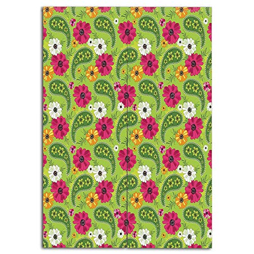 els) Multi Style,Paisley,Floral Pattern with Vivid Paisley Print Old Vintage Boho Style Print Decorative,Pistachio Pink Orange,Drawings Printing Design,W33.5 xH59.1 ()