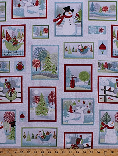 Cotton Christmas Scenes Squares Rectangles Frames Snowman Snowmen Reindeer Santa's Sleigh Ornaments Decorations Mailboxes Christmas Trees Snowflakes Holly Leaves Berries Berry Festive Holiday Cheer White Cotton Fabric Print by the Yard (9689-9) ()