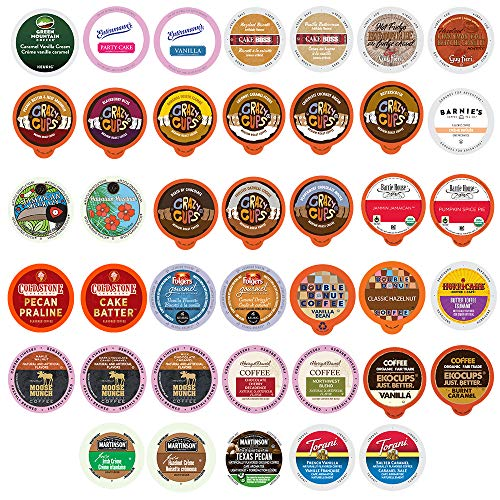 Crazy Cups Custom Variety Pack Flavored Coffee Single Serve Cups For Keurig Kcups Brewers, 40 count (Premium Sampler) ()